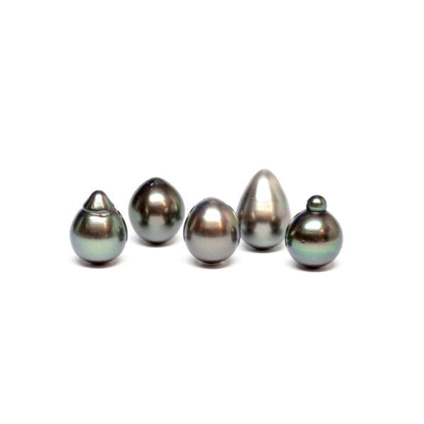 Semi baroque tahiti cultured pearls, Dark, 11-12mm, AB quality