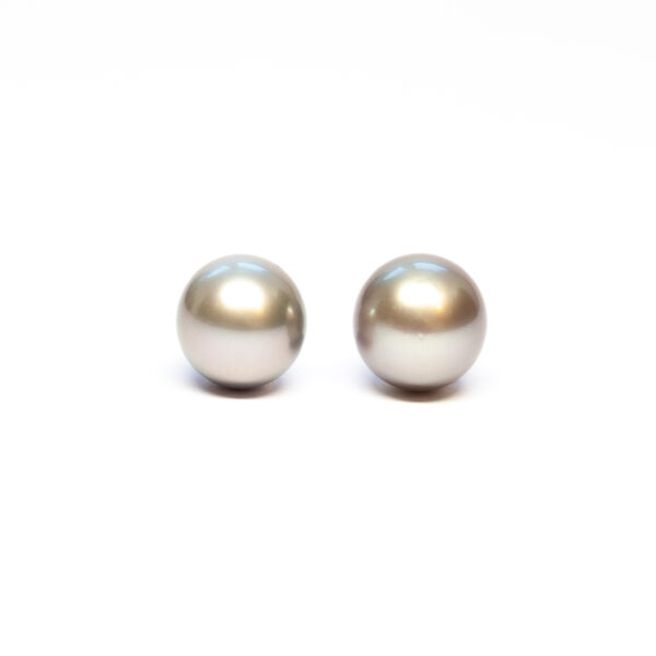 Near Round Tahiti Pearls, Pair, 11-12mm, C/C+ quality